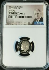 2021 S NGC PF70 UCAM ROOSEVELT CLAD DIME PROOF BIRTH SET EARLY RELEASES 059