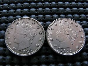 2 1883 NC LIBERTY NICKELS XF AU CONDITION
