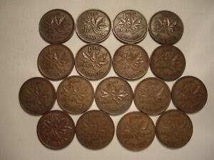 A CANADA GEORGE VI 1937   52 SMALL CENTS   LOT OF 17 COINS
