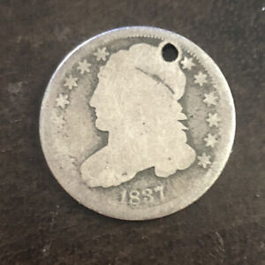 1837 P SILVER CAPPED BUST DIME.  LOW MINTAGE
