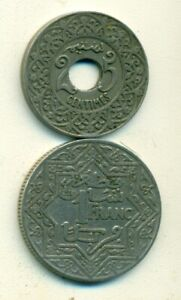 2 OLDER COINS FROM MOROCCO   25 CENTIMES & 1 FRANC  BOTH DATING 1921
