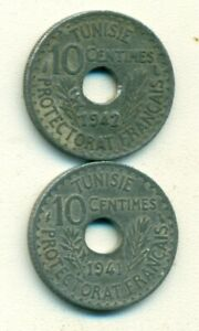 2 OLDER 10 CENTIME COINS FROM TUNISIA DATING 1941 & 1942