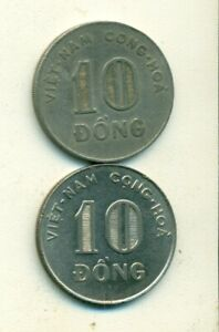 2 DIFFERENT 10 DONG COINS FROM SOUTH VIETNAM DATING 1964 & 1968