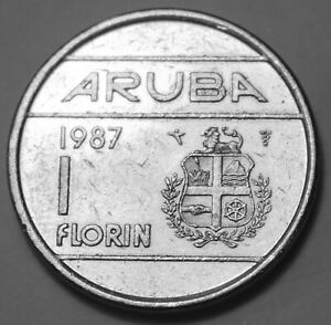 DUTCH ARUBA 1 FLORIN COIN 1987 KM 5 QUEEN BEATRIX ONE CARIBBEAN NETHERLANDS
