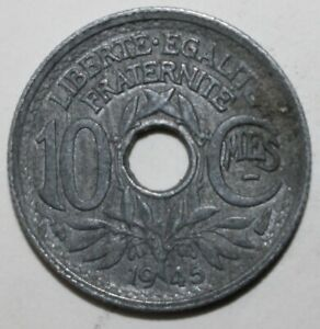 FRENCH 10 CENTIMES COIN 1945   KM 906.1 FRANCE   WORLD WAR 2 WWII