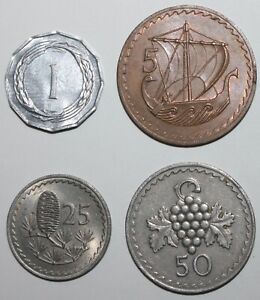 LOT OF 4 CYPRUS COINS 1963 1973   1 5 25 50 MILS CYPRIOT KMS 38 39 40 41