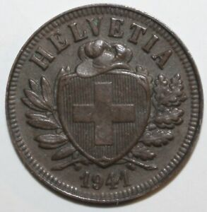 SWISS CONFEDERATION 2 RAPPEN COIN 1941 B KM 4.2A SWITZERLAND HELVETIA TWO