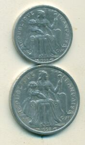 2 DIFFERENT COINS FROM FRENCH POLYNESIA   1 & 2 FRANCS  BOTH DATING 1993
