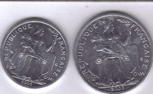 2 UNCIRCULATED COINS FROM FRENCH POLYNESIA   1 & 2 FRANCS  BOTH DATING 2003 .