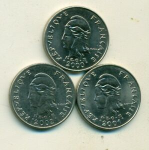 3 DIFFERENT 10 FRANC COINS FROM FRENCH POLYNESIA  2000 2001 & 2002