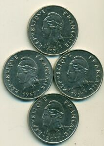 4 LARGE 50 FRANC COINS FROM FRENCH POLYNESIA  1967 1985 1991 & 2011