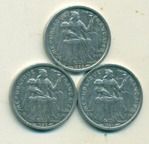 3 DIFFERENT 1 FRANC COINS FROM NEW CALEDONIA  1988 1989 & 1991