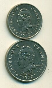2 DIFFERENT COINS FROM NEW CALEDONIA   10 & 20 FRANCS  BOTH DATING 1972