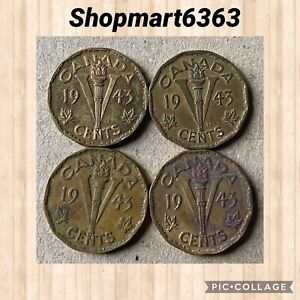 LOT OF 4  1943 TOMBAC   5 CENTS KING GEORGE CANADIAN NICKELS  CIRC.  93