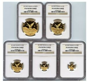 Click now to see the BUY IT NOW Price! 2013 MEXICO MEXICAN 5 COIN PROOF GOLD LIBERTAD SET NGC PF69 ULTRA CAMEO W/COA
