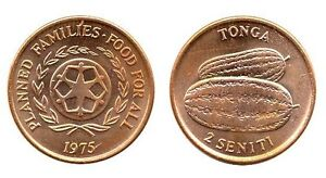 TONGA: VINTAGE UNC COIN PAIR WATERMELON AND PIG:  1 & 2 SENITI KMS 42 & 43