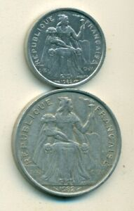 2 DIFFERENT COINS FROM FRENCH POLYNESIA   1 & 5 FRANCS  BOTH DATING 1982