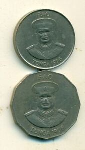 2 DIFFERENT COINS FROM TONGA   20 & 50 SENTI  BOTH DATING 1996
