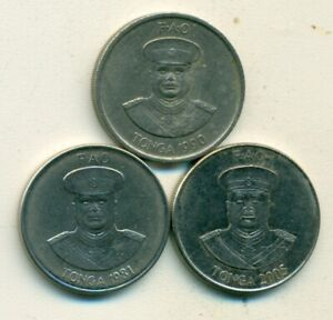 3 DIFFERENT 10 SENTI COINS FROM TONGA  1980 1991 & 2005