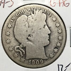 1909 S  G/AG   BARBER HALF DOLLAR   Y AND PART OF LT