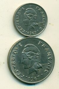 2 DIFFERENT COINS FROM FRENCH POLYNESIA   10 & 50 FRANCS  BOTH DATING 1967