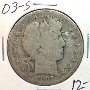 1903 S  SCRATCHES     BARBER HALF DOLLAR   Y AND PART OF T