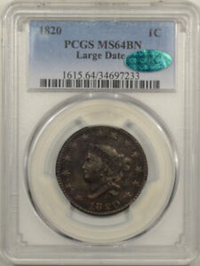 1820 CORONET HEAD LARGE CENT LARGE DATE   PCGS MS 64BN CAC APPROVED