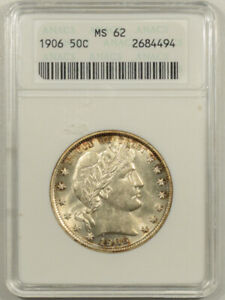 1906 BARBER HALF DOLLAR   ANACS MS 62