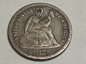 1874. SEATED LIBERTY DIME. 90  SILVER 10  COPPER