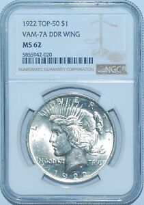 1922 P NGC MS62 VAM 7A TOP 50 DDR DOUBLED WING PEACE SILVER DOLLAR