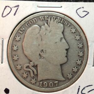 1907 P  GOOD   BARBER HALF DOLLAR  Y AND PART OF LT