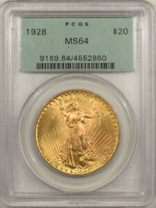 1928 $20 ST. GAUDENS GOLD DOUBLE EAGLE PCGS MS 64 OGH PQ & 65  QUALITY
