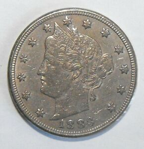 1883 LIBERTY HEAD NICKEL WITH CENTS LY FINE SCRATCHES ON FACE