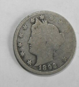 1892 LIBERTY HEAD NICKEL ABOUT GOOD