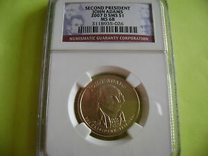 2007 D JOHN ADAMS NGC SMS MS 68 SATIN FINISH DOLLAR COIN