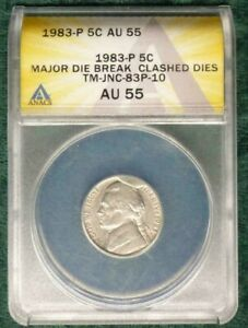 1983 P NICKEL MAJOR CUD/DIE BREAK/CLASHED DIES ANACS AU55 MULTIPLE ERRORS  D3280