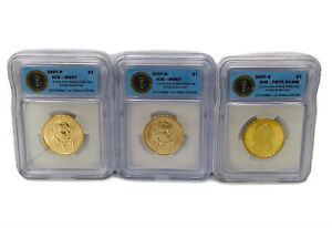 2007 S D P JOHN ADAMS  THREE COIN $1 SET ICG PROOF PR 70 DCAM MS 67