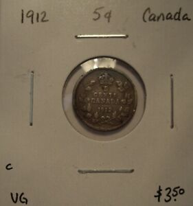 C CANADA GEORGE V 1912 SILVER FIVE CENTS   VG