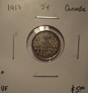 C CANADA GEORGE V 1917 SILVER FIVE CENTS   VF