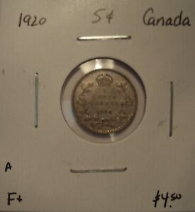 A CANADA GEORGE V 1920 SILVER FIVE CENTS   F