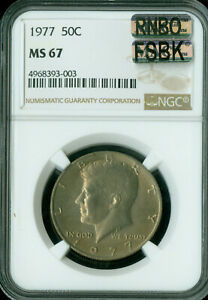 Click now to see the BUY IT NOW Price! 1977 KENNEDY HALF DOLLAR NGC MS67 RNBO FSBK FINEST REGISTRY RAINBOW .