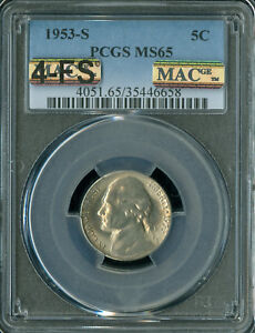 Click now to see the BUY IT NOW Price! 1953 S JEFFERSON NICKEL PCGS MAC MS65 4 FS PQ  SPOTLESS $20 000.00 FOR A FS