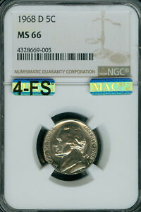 Click now to see the BUY IT NOW Price! 1968 D JEFFERSON NICKEL NGC MAC MS66 4 FS LY  2ND FINEST $20 000 5 FS