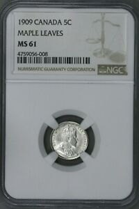 CANADA 1909 5 CENT ROUND MAPLE LEAVES NGC MS 61   S195