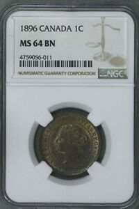 CANADA 1896 1 CENT NGC MS 64 BN   S196