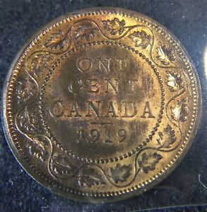 CANADA 1919 1 GEORGE V LARGE CENT GRADED ICCS MS63R&B. J178