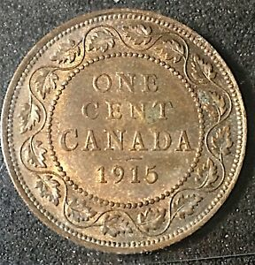 CANADA 1915 1 KING GEORGE LARGE CENT GRADED ICCS MS62 TRACE RED. J362
