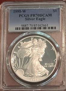 Click now to see the BUY IT NOW Price! 1995 W SILVER EAGLE PCGS PR70DCAM SPOT FREE