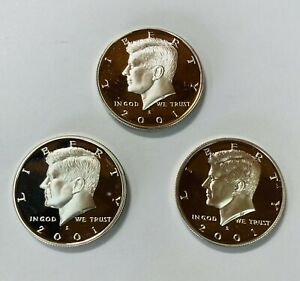 2001 S PROOF 90  SILVER KENNEDY HALF    3 COIN SET