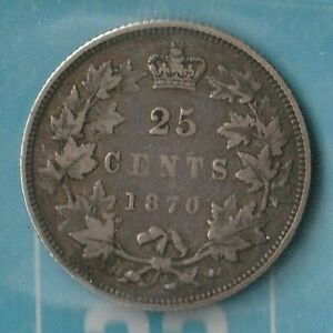 1870 CANADA QUEEN VICTORIA 25 CENTS  92.5  AG  900K MINTED ONLY  CCCS: VG10